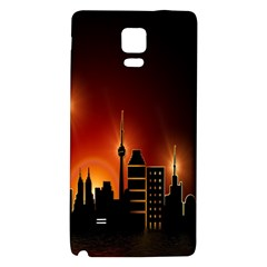Gold Golden Skyline Skyscraper Galaxy Note 4 Back Case by BangZart