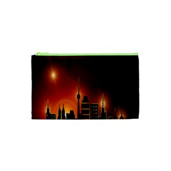 Gold Golden Skyline Skyscraper Cosmetic Bag (xs)