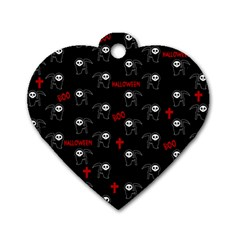 Death Pattern   Halloween Dog Tag Heart (one Side) by Valentinaart