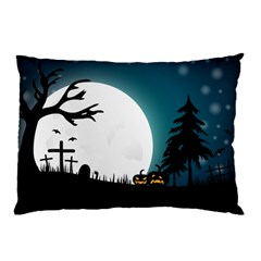 Halloween Landscape Pillow Case (two Sides) by Valentinaart