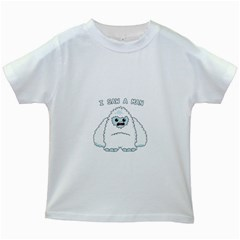 Yeti   I Saw A Man Kids White T Shirts by Valentinaart