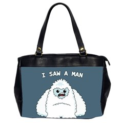 Yeti   I Saw A Man Office Handbags (2 Sides)  by Valentinaart