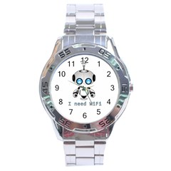 Cute Robot Stainless Steel Analogue Watch