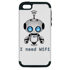 Cute Robot Apple Iphone 5 Hardshell Case (pc+silicone) by Valentinaart