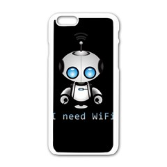 Cute Robot Apple Iphone 6/6s White Enamel Case by Valentinaart