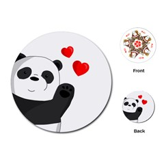 Cute Panda Playing Cards (round)  by Valentinaart