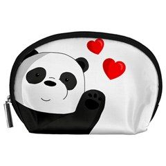Cute Panda Accessory Pouches (large)  by Valentinaart