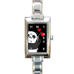 Cute Panda Rectangle Italian Charm Watch by Valentinaart