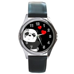 Cute Panda Round Metal Watch by Valentinaart