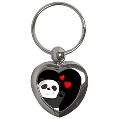 Cute Panda Key Chains (heart)  by Valentinaart