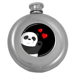 Cute Panda Round Hip Flask (5 Oz) by Valentinaart