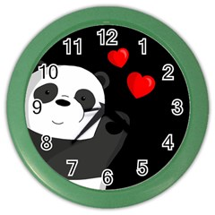 Cute Panda Color Wall Clocks by Valentinaart