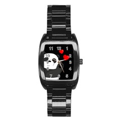 Cute Panda Stainless Steel Barrel Watch by Valentinaart