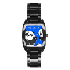 Cute Pandas Stainless Steel Barrel Watch by Valentinaart