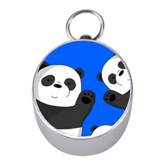 Cute Pandas Mini Silver Compasses