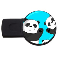 Cute Pandas Usb Flash Drive Round (2 Gb) by Valentinaart