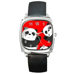 Cute Pandas Square Metal Watch by Valentinaart