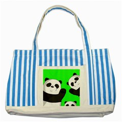 Cute Pandas Striped Blue Tote Bag by Valentinaart