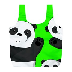 Cute Pandas Full Print Recycle Bags (l)  by Valentinaart