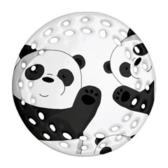 Cute Pandas Round Filigree Ornament (two Sides)