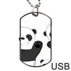 Cute Pandas Dog Tag Usb Flash (two Sides) by Valentinaart