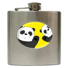 Cute Pandas Hip Flask (6 Oz) by Valentinaart