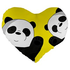 Cute Pandas Large 19  Premium Flano Heart Shape Cushions
