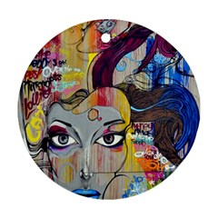 Graffiti Mural Street Art Painting Round Ornament (two Sides)