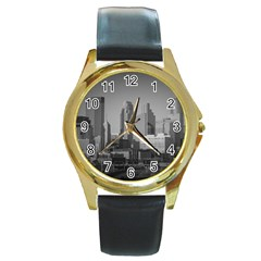 Minneapolis Minnesota Skyline Round Gold Metal Watch