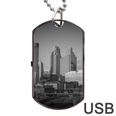 Minneapolis Minnesota Skyline Dog Tag Usb Flash (two Sides)