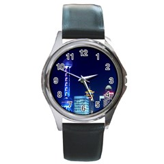 Shanghai Oriental Pearl Tv Tower Round Metal Watch
