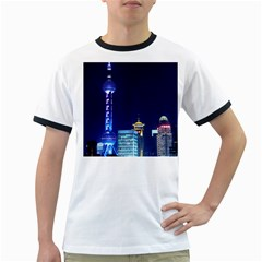 Shanghai Oriental Pearl Tv Tower Ringer T-shirts by BangZart