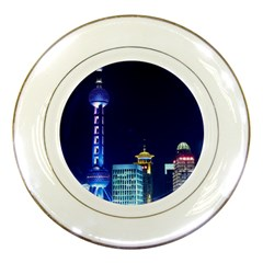 Shanghai Oriental Pearl Tv Tower Porcelain Plates by BangZart