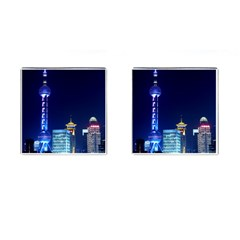 Shanghai Oriental Pearl Tv Tower Cufflinks (square) by BangZart