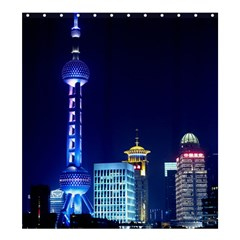 Shanghai Oriental Pearl Tv Tower Shower Curtain 66  X 72  (large)  by BangZart