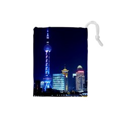 Shanghai Oriental Pearl Tv Tower Drawstring Pouches (small)  by BangZart