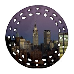 Skyline City Manhattan New York Round Filigree Ornament (two Sides)