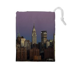 Skyline City Manhattan New York Drawstring Pouches (large)  by BangZart