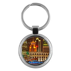 Shanghai Skyline Architecture Key Chains (round)  by BangZart