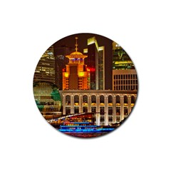 Shanghai Skyline Architecture Rubber Coaster (round)  by BangZart