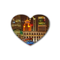 Shanghai Skyline Architecture Heart Coaster (4 Pack)  by BangZart