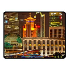 Shanghai Skyline Architecture Fleece Blanket (small) by BangZart