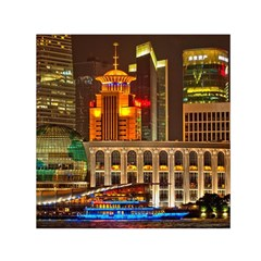 Shanghai Skyline Architecture Small Satin Scarf (square)