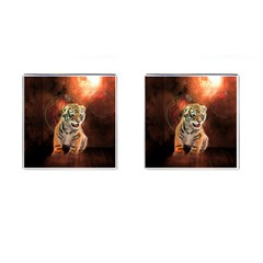 Cute Little Tiger Baby Cufflinks (square) by FantasyWorld7