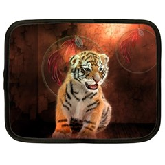 Cute Little Tiger Baby Netbook Case (large) by FantasyWorld7
