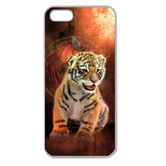 Cute Little Tiger Baby Apple Seamless Iphone 5 Case (clear) by FantasyWorld7
