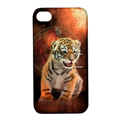 Cute Little Tiger Baby Apple Iphone 4/4s Hardshell Case With Stand by FantasyWorld7