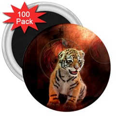 Cute Little Tiger Baby 3  Magnets (100 Pack) by FantasyWorld7