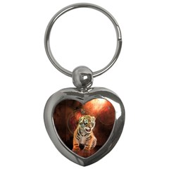 Cute Little Tiger Baby Key Chains (heart)  by FantasyWorld7