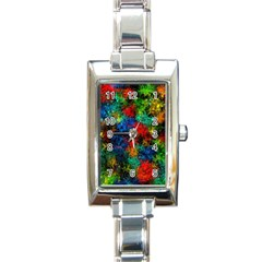 Squiggly Abstract A Rectangle Italian Charm Watch by MoreColorsinLife